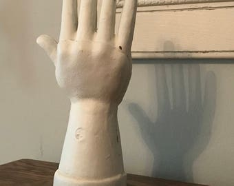 Vintage Cast Iron Glove • Hand Mold • Industrial • Rust • Jewelry Display • Shelf Decor