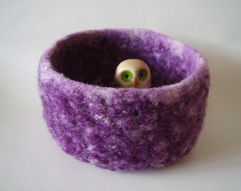 felted wool bowl container treasure dish violet and cream