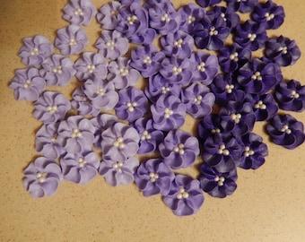 "50 - 1""  Purple Royal Icing Drop Flowers"
