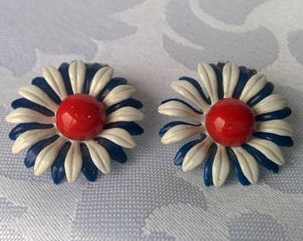 Red White Blue Flower Earrings, Red White Blue Clip On Earrings, Clip On Earrings, Flower Earrings, Earrings