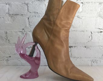 vintage gold leather Stuart Weitzman pointed toe ankle boots / side zip mid stiletto heel booties