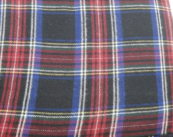 "Blue & Red Plaid Flannel, Yarn-Dyed Flannel, Cotton Flannel Fabric, 56"" Wide, BTY or Half Yard"