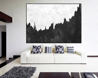 extra large wall art original abstract Painting, Black and White, large painting on canvas, contemporary wall art, large Abstract art