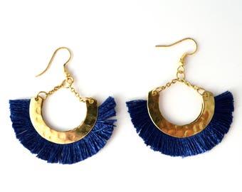Blue Gold Half moon earrings-Boho silk tassel earrings- Moon Earrings -Tribal Jewelry Hoop Earrings-fringe earring -handmade Jewelry