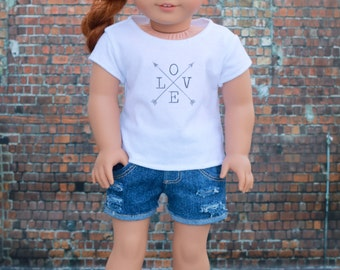 18 Inch Doll Clothes | Trendy Love with Arrows Graphic White Short Sleeve TEE for 18 Inch Doll