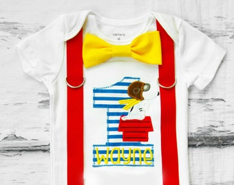 Baby Boy Snoopy  Peanut Charlie Brown themed first birthday onesie Boy ONE year cake smash Boy first birthday Boy 1st birthday Charlie Brown