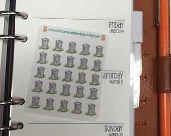 Itty Bitty 25 Trash can stickers for personal size inserts Erin Condren Life Planner Filofax Gillio #63 Itty Bitty