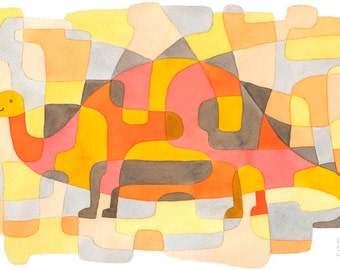 Dinosaur 2 - Kids Art Mid Century Modern Print Nursery Art Print pink yellow orange gray 8 x 10