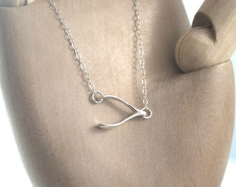 Wishbone necklace. 925 Sterling silver wish bone necklet, simple layering necklace, unusual sideways wishbone dainty delicate lucky charm