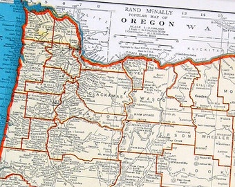 Oregon and Pennsylvania Map - 1942 Vintage Book Page - Old Map from World Atlas 2 Sided R10