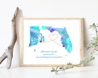 Mother's Day Gift, Two any US STATES Map, Gift for Mom Long Distance Family Map, Miss You, Gift for Her, Send Mothers Day gift far away