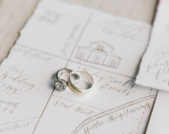 Custom Hand-Painted Wedding Map with Hand-Lettered Calligraphy