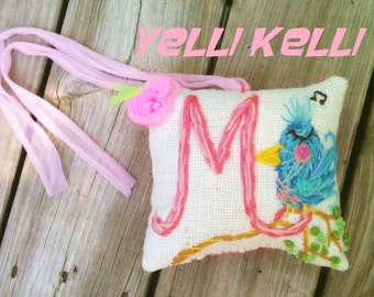 Crewel Initial on Burlap  Hand Embroidered  Mini Pillow You Choose Design
