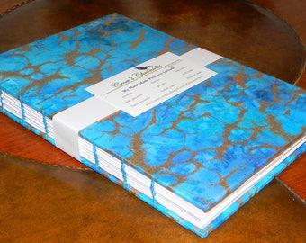 Medium Teal & Gold  Batik Print Fabric Covered Coptic Stitch Bound Journal 6x8 inch