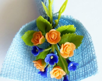 Miniature Polymer Clay Flowers Roses Bouquet for Dollhouse with Blue Cotton Wrapping
