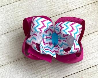 Spring Summer Hair Bow - Pink Fuchsia Blue Aqua - Boutique Hair Bow - Girl Hair Bow - Chevron Hair Bow