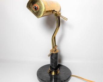 Vintage Brass Lamp, Marble, Desk Lamp, Adjustable, Advent Lamp, Piano Lamp, Metal Lamp, Library Lamp, Bankers Lamp, Table Lamp, Brass Decor