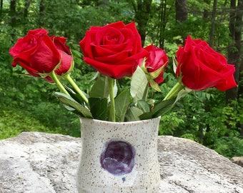 White and Purple Ceramic Vase
