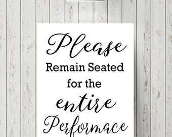 Superieur Funny Bathroom Art Print   Please Remain Seated Print   Funny Bathroom Sign    Funny Bathroom