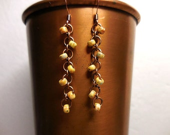 Copper Earrings, Copper Chainmaille Earrings, Yellow Earrings, Picasso Bead Earrings, Dangle Earrings, Copper Jewelry, Copper Jump rings