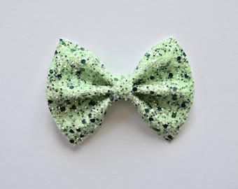 Shades of Green Glitter Bow Clip Adorable Photo Prop Holiday Christmas Clip Pictures Headband for Newborn Baby Little Girl Child Adult
