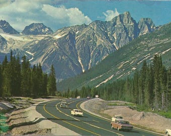 Vintage 1950s Postcard Rogers Pass British Columbia BC Canada Selkirk Range Rocky Mountains Scenic Highway View Photochrome Postally Unused