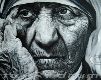 Canvas Giclee Print of acrylic painting, SAINT TERESA, 25 x 15""