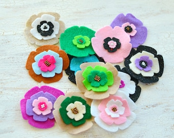 Die cut flowers, felt flower appliques, felt fabric flowers, felt appliques, flower patches, fake flowers(12pcs)- GRAB BAG FLOWERS(set11)