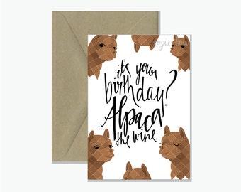 Alpaca The Wine Birthday Card