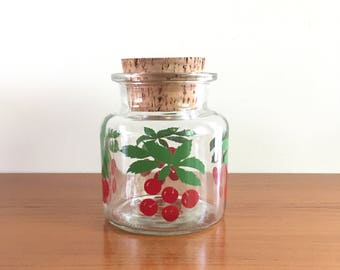 Glass years 70 storage with cork lid, motif cherries