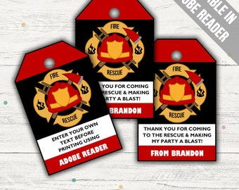 Fireman Party Favor Tags (Firefighter Thank You Tags). Printable PDF (EDITABLE). Instant Download.