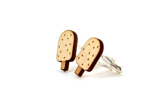 Ice cream cufflinks - wooden accessory for the groom - best man jewelry - lasercut maple wood - graphic kitsch summer wedding jewelry