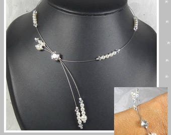 Ornament wedding Swarovski and pearls - Glamour Collection - Adriana necklace