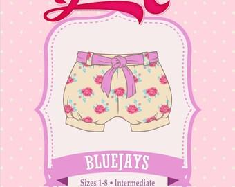 Bubble Shorts, Blue Jays Shorts PDF Sewing Pattern - Girls, Bubble Shorts, Tie Belt, Elastic Waist