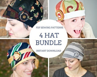 PDF Sewing Pattern & Tutorial for Upcycled, Recycled, Repurposed Cloche, Slouch, and Fabric Sample Hats for Women Instant Download