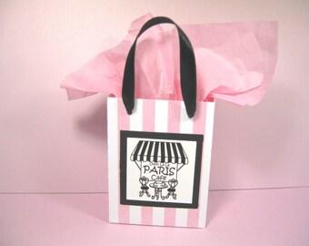 10 Paris Cafe Favor Bags - Pink Black - Ooh La La Party Favor Bags - Pink White Stripe Favor Bags - Small Shopping Bags - Paris Gift Bags