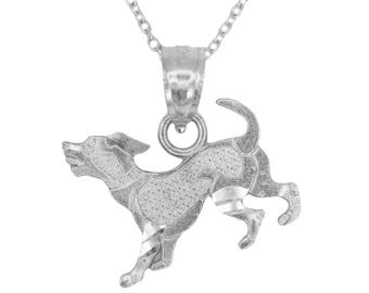 10k White Gold Dog Necklace with Gold Chain, Animal Jewelry Pet Gift for Men or Women, Puppy Dog Pendant Gold