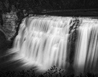 Black and White Waterfall Print, Nature Photography, Waterfall Photo, Black and White Nature Prints, Waterfall Photography, Nature Art Print