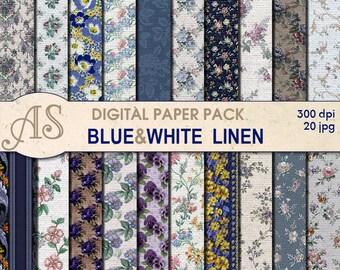 Digital Vintage Floral Linen Paper Pack, 20 printable Digital Scrapbooking papers, Digital Collage, clipart, Instant Download, set 109