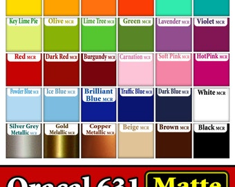 """20 sheets 6""""x12"""" Oracal 631  Adhesive Backed Vinyl for all Craft & Sign Cutters YOU PICK COLORS Indoor Matte"""