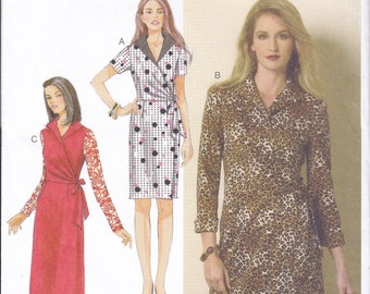 FREE US SHIP Butterick 6128 Evening Length Wrap Dress Uncut Sewing Pattern 14/22 Size 14 16 18 20 22 Bust 36 38 40 42 44 Plus Factory Folded