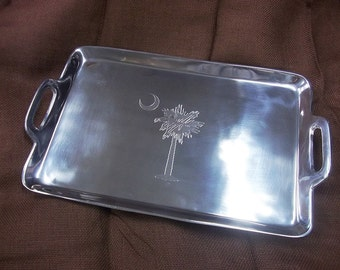 Palmetto Moon Engraved Aluminum Serving Tray, Monogrammed Tray, Personalized Tray