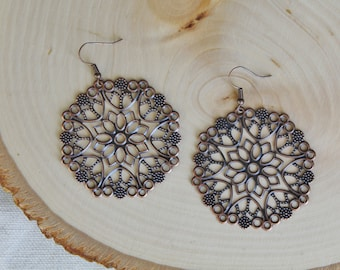 READY TO SHIP / Bohemian Earrings / Copper Earrings / Boho Earrings / Boho Dangles / Filigree Dangles