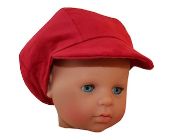Cap newsboy toddler fine corduroy red canvas