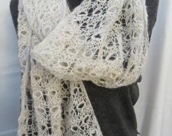 White Handspun Alpaca Scarf or Wrap,  Handknitted Lace Scarf, Soft Light White Alpaca Shawl Handspun and Handknitted.