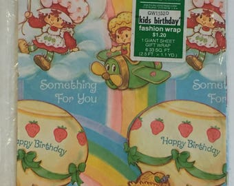 Vintage Strawberry Shortcake Wrapping Paper American Greetings