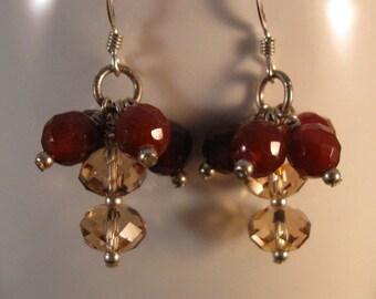 Gemstone Dangle Earrings, gemstone earrings, cluster earrings, silver earrings, dangle earrings, drop earrings, gemstone cluster, earrings