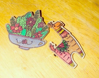 Llama and a potted plant PIN