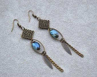 """Equinox"" glass and brass earrings"