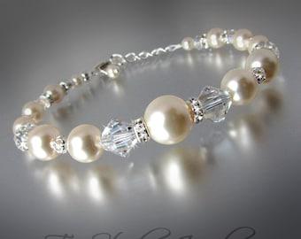 Pearl and Crystal Bridal Bracelet - PRISCILLA